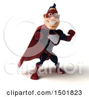 Clipart Of A 3d Buff White Male Maroon Hero Punching On A White Background Royalty Free Illustration by Julos