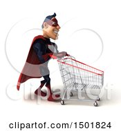 Clipart Of A 3d Buff White Male Maroon Hero Pushing A Cart On A White Background Royalty Free Illustration by Julos