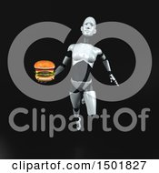 3d Feminine Robot Holding A Burger On A Black Background