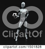 3d Feminine Robot Holding A Soccer Ball On A Black Background