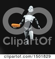 3d Feminine Robot Holding A Hot Dog On A Black Background