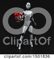 3d Feminine Robot Holding An Alarm Clock On A Black Background