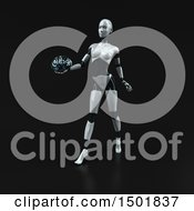 3d Feminine Robot Holding A Brain On A Black Background