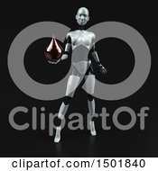 3d Feminine Robot Holding A Blood Drop On A Black Background
