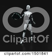 3d Feminine Robot Holding A Cloud On A Black Background