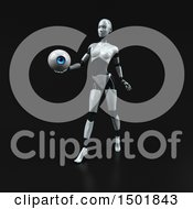 3d Feminine Robot Holding An Eyeball On A Black Background