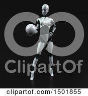 3d Feminine Robot Holding A Golf Ball On A Black Background