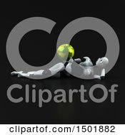 Clipart Of A 3d Female Robot Holding A Globe On A Black Background Royalty Free Illustration