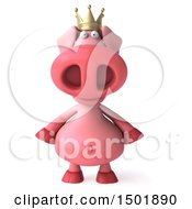 Clipart Of A 3d Pink Pig Wearing A Crown On A White Background Royalty Free Illustration