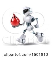 Clipart Of A 3d Blue And White Robot Holding A Blood Drop On A White Background Royalty Free Illustration