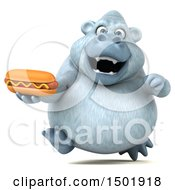 Poster, Art Print Of 3d White Monkey Yeti Holding A Hot Dog On A White Background