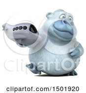 Clipart Of A 3d White Monkey Yeti Holding A Plane On A White Background Royalty Free Illustration