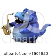 Poster, Art Print Of 3d Blue T Rex Dinosaur Holding A Saxophone On A White Background
