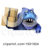 Poster, Art Print Of 3d Blue T Rex Dinosaur Holding Boxes On A White Background