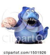 Poster, Art Print Of 3d Blue T Rex Dinosaur Holding A Brain On A White Background