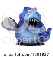 Poster, Art Print Of 3d Blue T Rex Dinosaur Holding A Cloud On A White Background