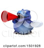 Poster, Art Print Of 3d Blue T Rex Dinosaur Holding A Plate On A White Background