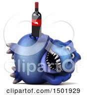 Poster, Art Print Of 3d Blue T Rex Dinosaur Holding A Wine Bottle On A White Background