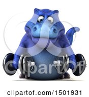 Poster, Art Print Of 3d Blue T Rex Dinosaur Holding Dumbbells On A White Background