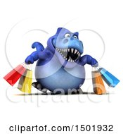 Poster, Art Print Of 3d Blue T Rex Dinosaur Holding Shopping Bags On A White Background
