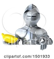 Poster, Art Print Of 3d Armored Knight Holding A Banana On A White Background