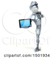 Poster, Art Print Of 3d Armored Knight Holding A Tablet On A White Background