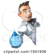 Poster, Art Print Of 3d Caucasian Male Armored Knight Holding A Water Drop On A White Background