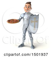 Poster, Art Print Of 3d Caucasian Male Armored Knight Holding A Pizza On A White Background