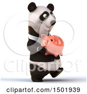 3d Business Panda Holding A Piggy Bank On A White Background