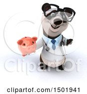 Poster, Art Print Of 3d Doctor Or Veterinarian Panda Holding A Piggy Bank On A White Background