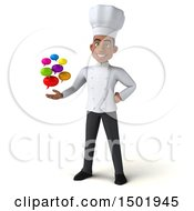 3d Young Black Male Chef Holding Messages On A White Background