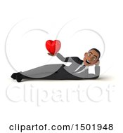 3d Young Black Business Man Holding A Heart On A White Background