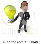3d Young Black Business Man Holding A Light Bulb On A White Background