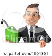 3d White Business Man Holding A Recycle Bin On A White Background