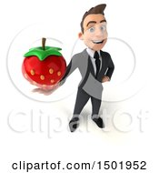3d White Business Man Holding A Strawberry On A White Background