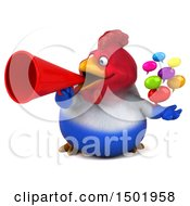 3d Chubby French Chicken Holding Messages On A White Background