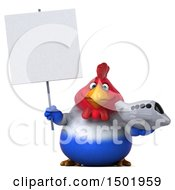 Clipart Of A 3d Chubby French Chicken Holding A Plane On A White Background Royalty Free Illustration
