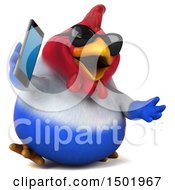 3d Chubby French Chicken Holding A Cell Phone On A White Background