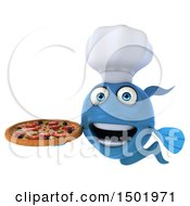 3d Blue Fish Holding A Pizza On A White Background
