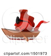 3d Red Fish Rowing A Boat On A White Background