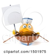 3d Yellow Sailor Fish Rowing A Boat On A White Background