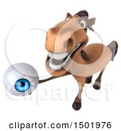Poster, Art Print Of 3d Brown Horse Holding An Eyeball On A White Background
