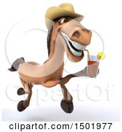Poster, Art Print Of 3d Brown Cowboy Horse Holding Iced Tea On A White Background