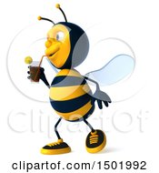 Poster, Art Print Of 3d Male Bee Drinking A Beverage On A White Background