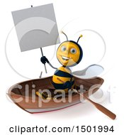3d Male Bee Rowing A Boat On A White Background