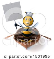 3d Sailor Bee Rowing A Boat On A White Background
