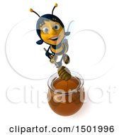 3d Female Bee Holding A Honey Dipper On A White Background