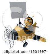 Poster, Art Print Of 3d Male Bee Flying A Plane On A White Background