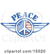 American Peace Symbol With Stars And Stripes And Wings Onthe Sides Clipart Illustration