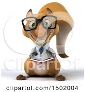 Clipart Of A 3d Doctor Or Veterinarian Squirrel Reading On A White Background Royalty Free Illustration